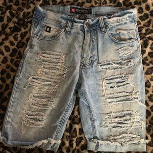 NEW! Mens Cuffed Leg Distressed Denim Shorts Sz 30